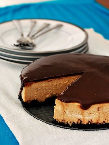Peanut Butter Cheesecake with Nutella Ganache Topping | TheRedheadBaker.com