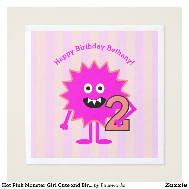 Hot Pink Monster Girl Cute 2nd Birthday Paper Napkin