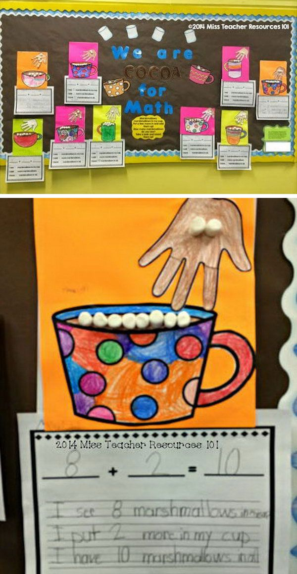 The students enjoyed this hot cocoa math bulletin board because it demonstrates addition that really made sense to them and it allowed them to do fun things like color and use marshmallows as manipulatives.