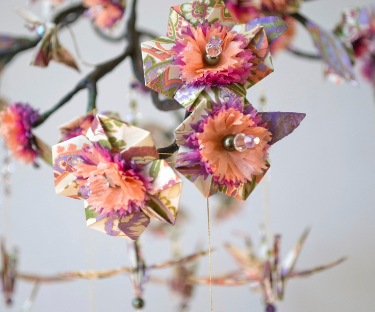 Origami Blossom and Crane Paper Mobile