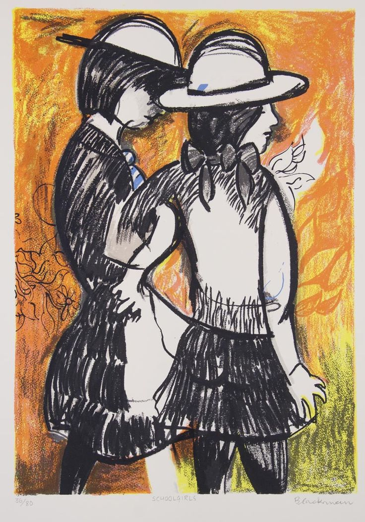 Charles Blackman's recurring motifs of girls and flowers express his love for delicacy and tranquility in the world, here in  'Schoolgirls, from Girls and Flowers portfolio'.  https://angelatandorifineart.com/collections/charles-blackman/products/blackman-charles-girl-listening-to-mu-4923