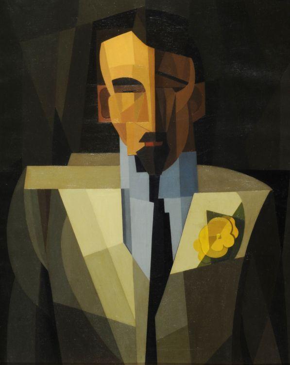 El hombre de la flor amarilla. El poeta Hidalgo (1932) Oleo sobre tela - Emilio Pettoruti (Argentino 1892-1971) Museo Nacional de Bellas Artes de Buenos Aires