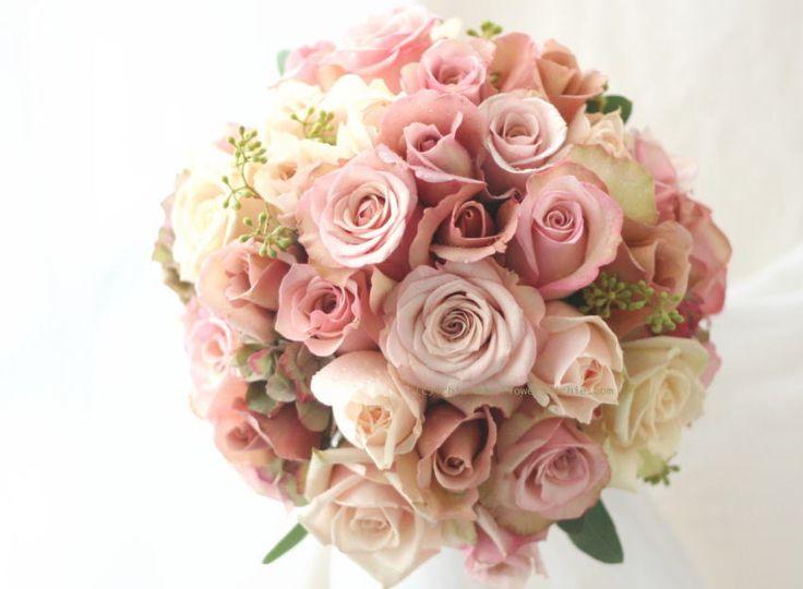 ブーケ ラウンド 紅茶~ニュアンスカラー : 一会 ウエディングの花