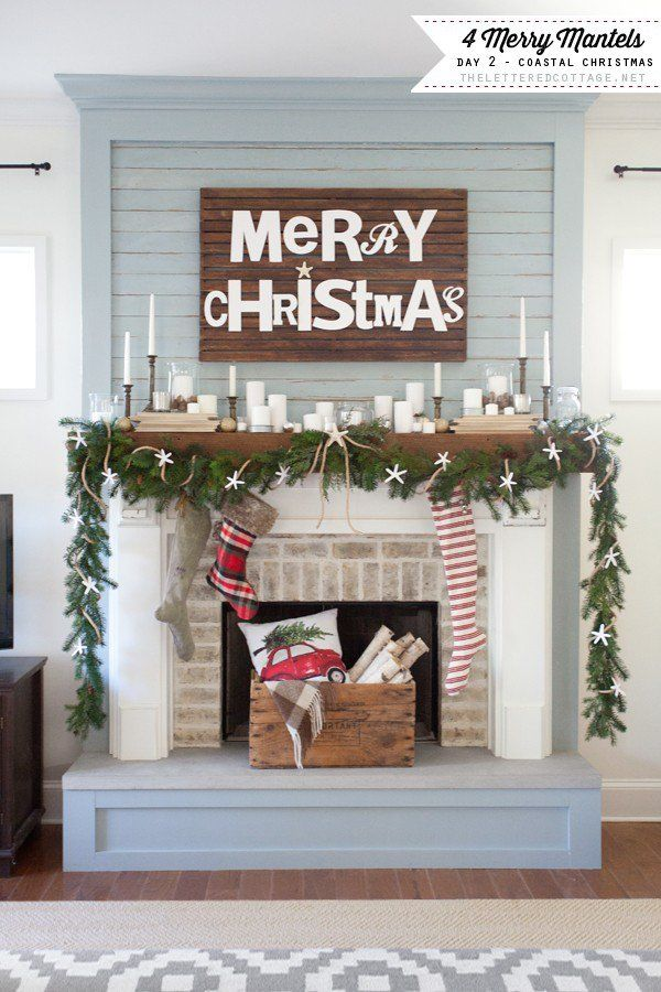 Coastal Christmas Mantel | The Lettered Cottage | Decorating Series