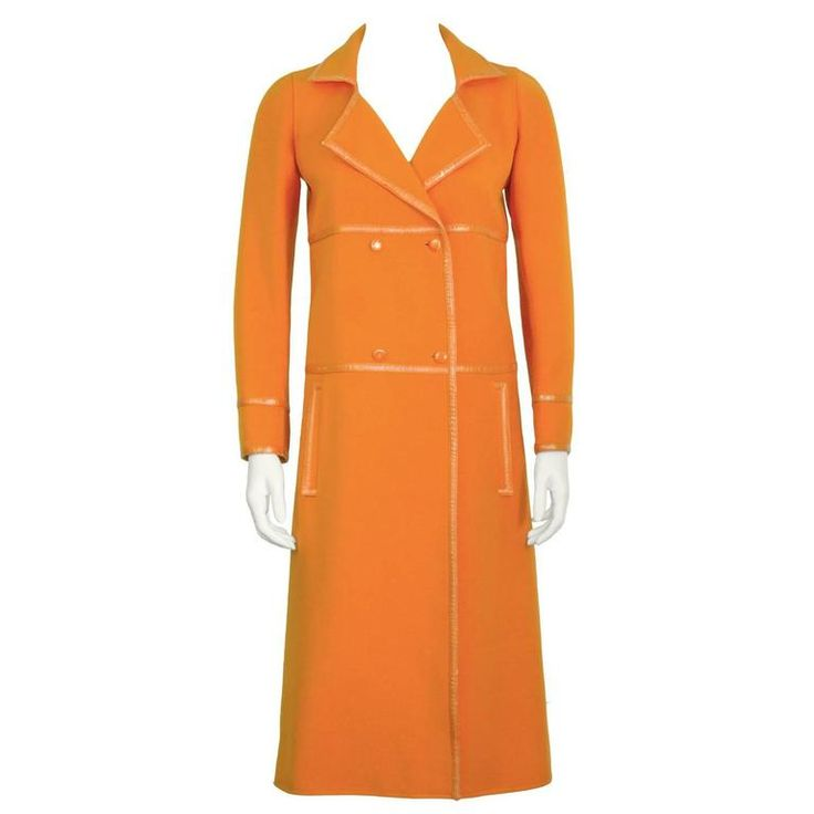 1960's Courreges Orange Mod Coat with Vinyl Trim | From a collection of rare vintage coats and outerwear at https://www.1stdibs.com/fashion/clothing/coats-outerwear/