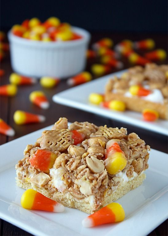 Harvest Bars Ingredients  1/2 cup butter, softened  1 package yellow cake mix with pudding  1 egg  3 1/2 cups miniature marshmallows  1/2 cup light corn syrup  1/4 cup granulated sugar  1/4 cup brown sugar, firmly packed  1/2 cup creamy peanut butter  2 teaspoons vanilla extract  2 cups Crispix Cereal  2 cups peanuts, lightly salted  1 cup candy corn