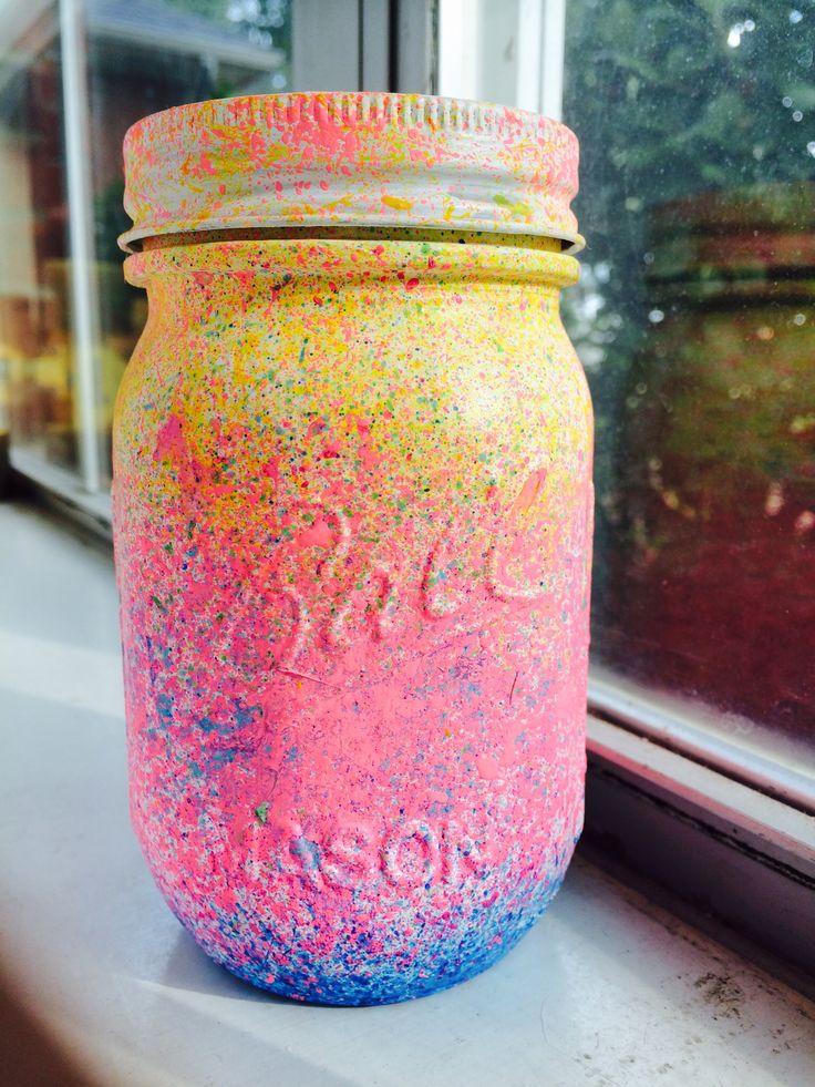 Neon Mason Jar Piggy Bank! #DIY #MasonJar #Neon