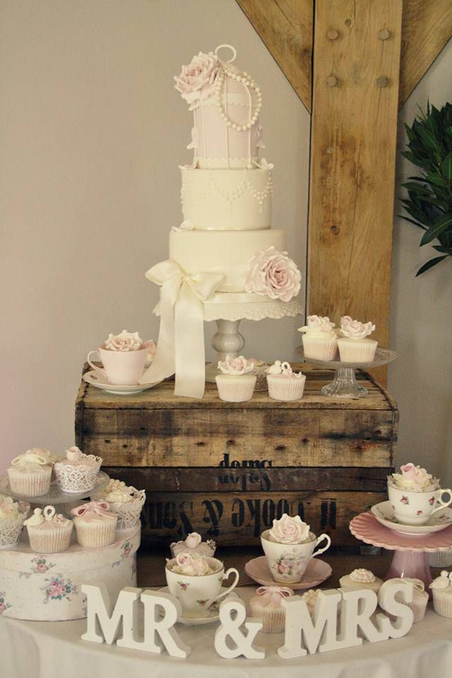 116 best cake tables images on pinterest dessert tables cake shabby chic wedding cake display atypical display of cake and cupcakes the teacups junglespirit Gallery