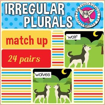 Students learn to label and identify correct irregular plural noun forms through matching singular and plural noun pairs. Other tricky plural formations are also included (i.e., adding es to singular nouns ending in sibilant sounds [s, z, , t, d], as in bus and buses).