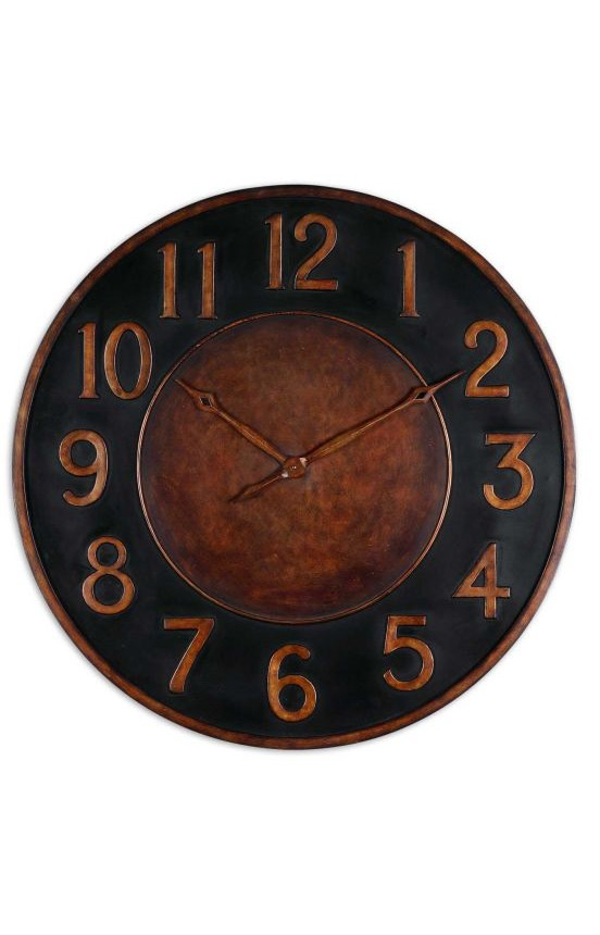Uttermost Wall Clocks Matera Wall Clock Mottled Golden Bronze available at Rugs USAMatera Clocks, Matera 36, Uttermost Matera, Metals Wall, Golden Bronze, Matera Wall, Wall Clocks, Forge Metals, Hands Forge