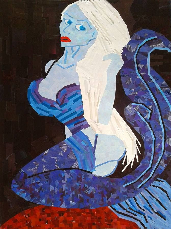 paper collage from magazine pages, mermaid, 1 m X 70 cm, black wooden frame