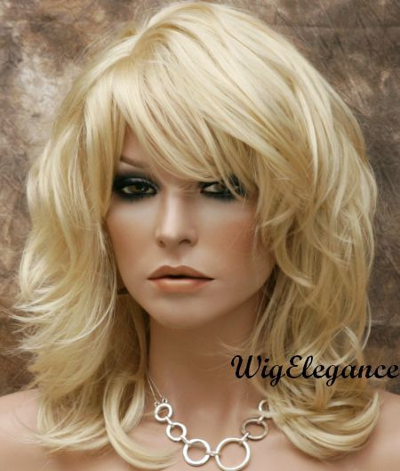NEW Style Natural Wavy Layered WIG Pale Blonde Medium