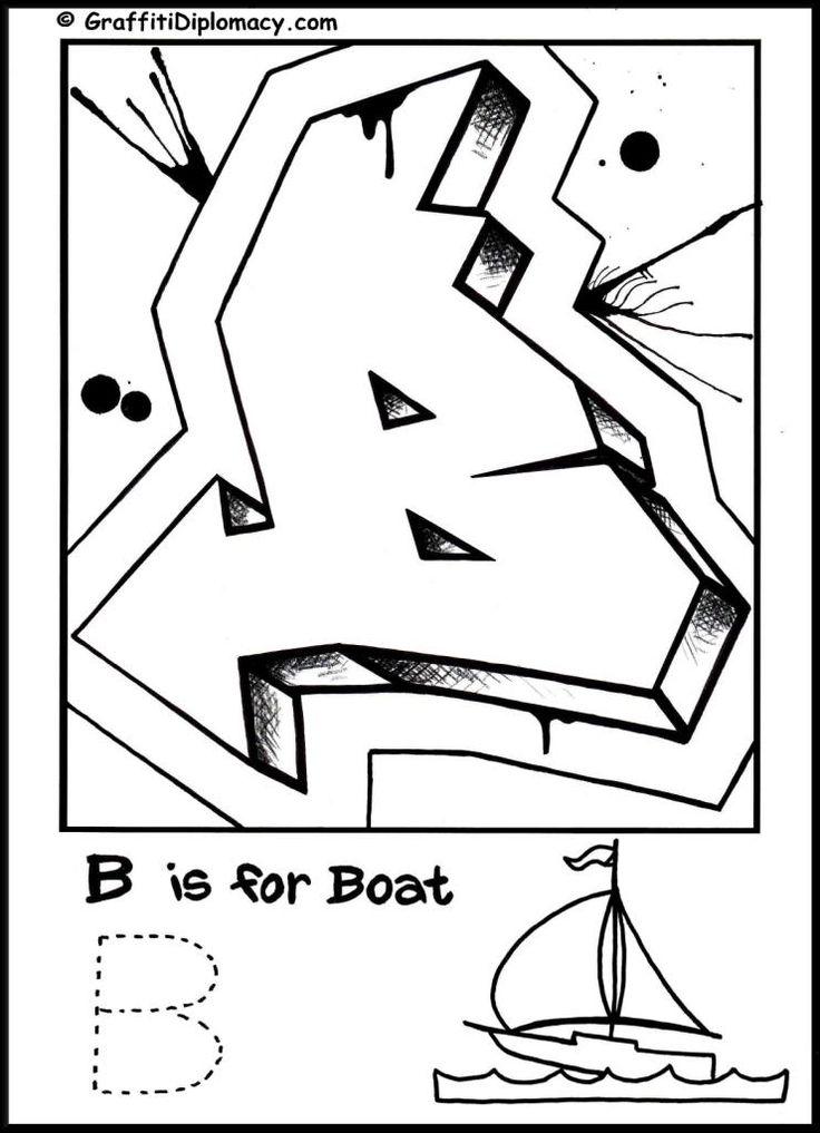 graffiti alphabet coloring page, free printable,#graffiti
