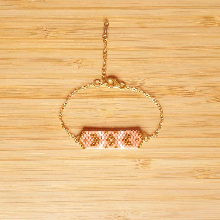 Bracelet Cheyenne Pêche plaqué or tissage perles Miyuki