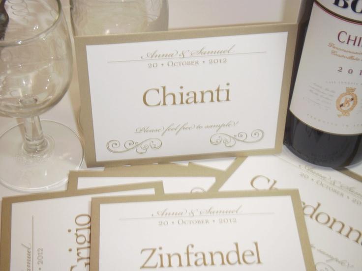Wedding Table Names / Wedding Table Wines / Wedding Table Numbers / Wedding Table Cards / gold leaf / 10. $39.50, via Etsy.