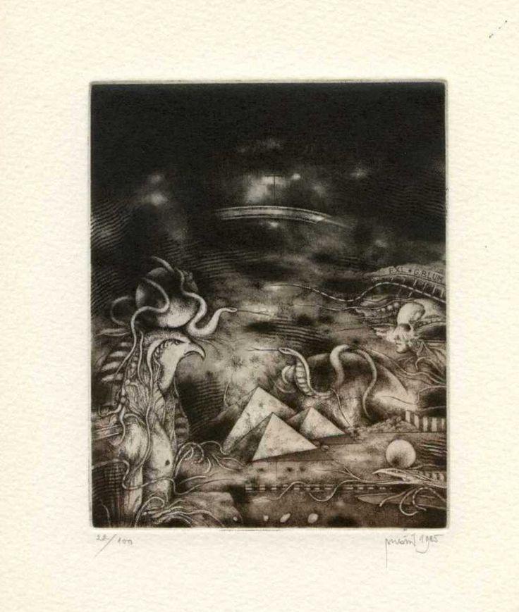 ARTWORK: Original Ex libris Etching - ARTIST: Zdenek Bugan, Slovakia - TECHNIQUE: C3.C4,C5,C7.