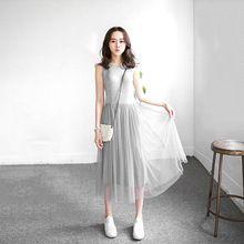 Мода лето тюль сарафаны корейски белый дно бака dress женщины sweet pink тонкий вскользь платья принцесс(China (Mainland))