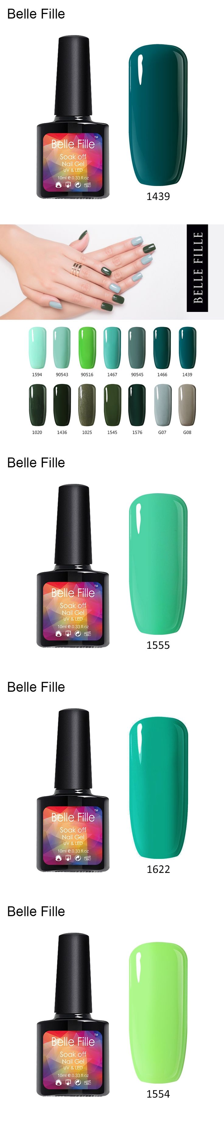 BELLE FILLE UV Gel Nail Polish 10ml UV LED Nail Gel dark green Color Lacquer Gelpolish Varnish Professional fingernail Polish
