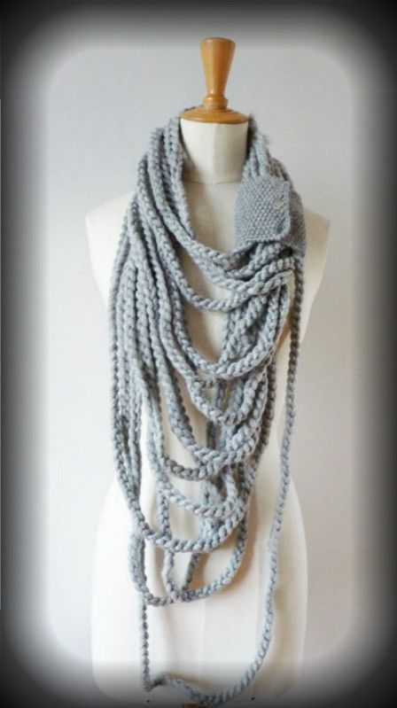 infinity chain loop scarf...this is crochet, but think I can closely replicate with I-cord and garter stitch.