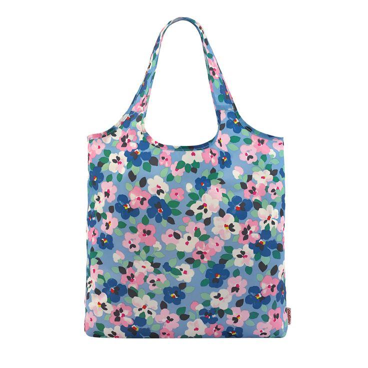 Large Painted Pansies Foldaway Shopper | Foldaway Bags | CathKidston