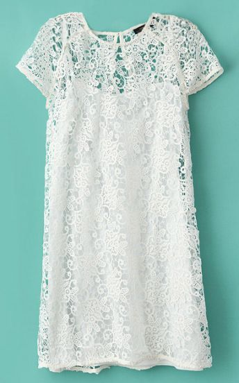 White Short Sleeve Crochet Lace Dress with Camisole by: SheInside