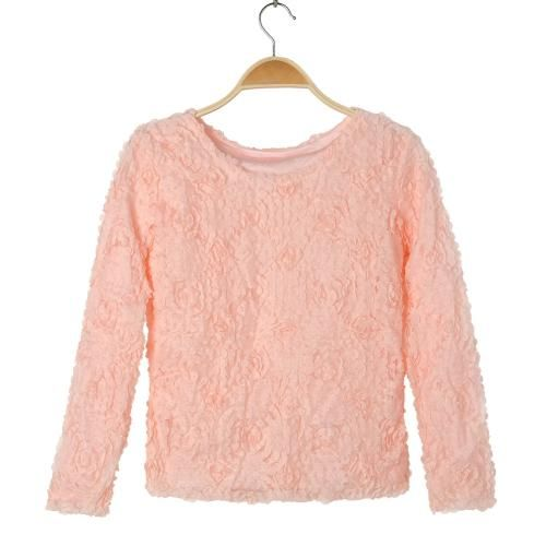 New Women Lady Elegant Pullover Tops Vintage Blouse Applique Tee T-Shirts