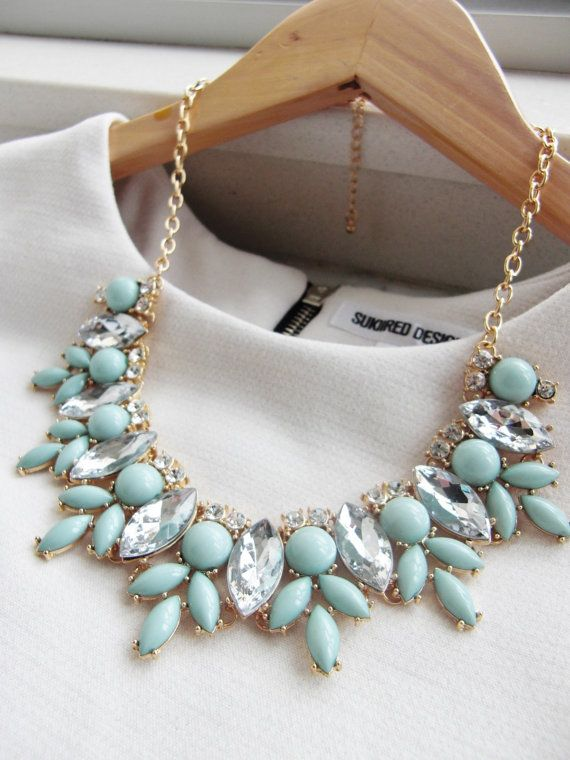 Mint Green Jewel Crystal Statement Necklace / Anthropologie Necklace / Chunky Necklace / Bib Necklace / Jcrew Necklace