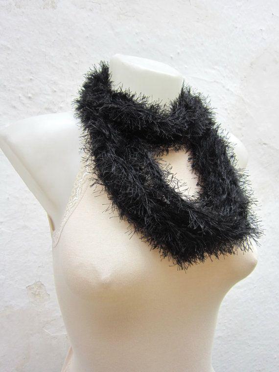 Crochet Scarf infinity Black   Necklace Long Winter by scarfnurlu