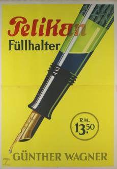 Pelikan pens (1936)  Artist : Ludwig Hohlwein #Pelilan #FountainPens