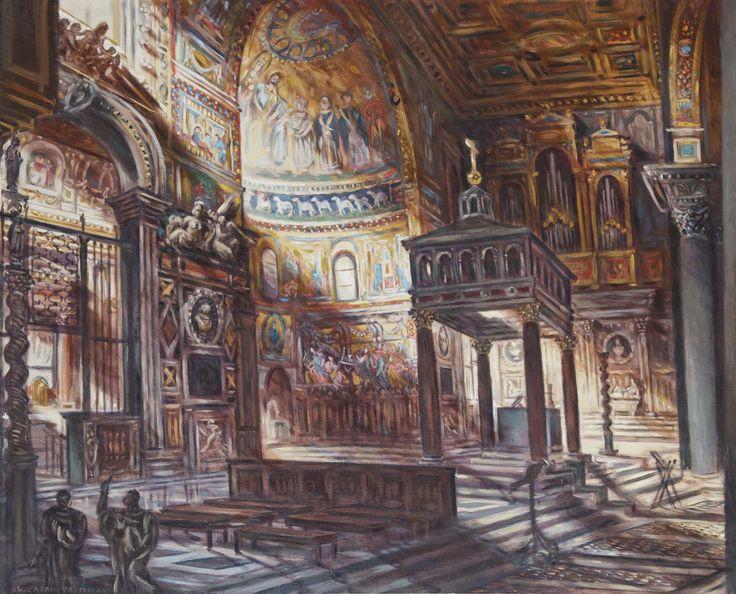 Philippe Casanova; Santa Maria in Trastevere (Rome);110x90 cm; oil on canva; 2016; artist's collection