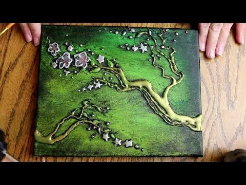 How to PAINT 3D TREE BLOSSOMS with HOT GLUE TEXTURE (Speed Version)