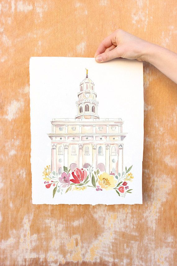 """Print of my original Nauvoo temple watercolor. Digitally printed on high quality, glossy, heavy cardstock (12 pt. C2S Carolina). IMPORTANT INFO: ☀If youd like to request writing a name or date on the print itself, select the """"custom name"""" listing within sizing options and specify your"""