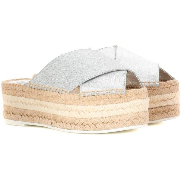 Stella McCartney Sandal With Espadrilles Platform ($460) ❤ liked on Polyvore featuring shoes, sandals, flatforms, silver, brown espadrilles, brown platform sandals, platform shoes, flatform sandals and platform sandals