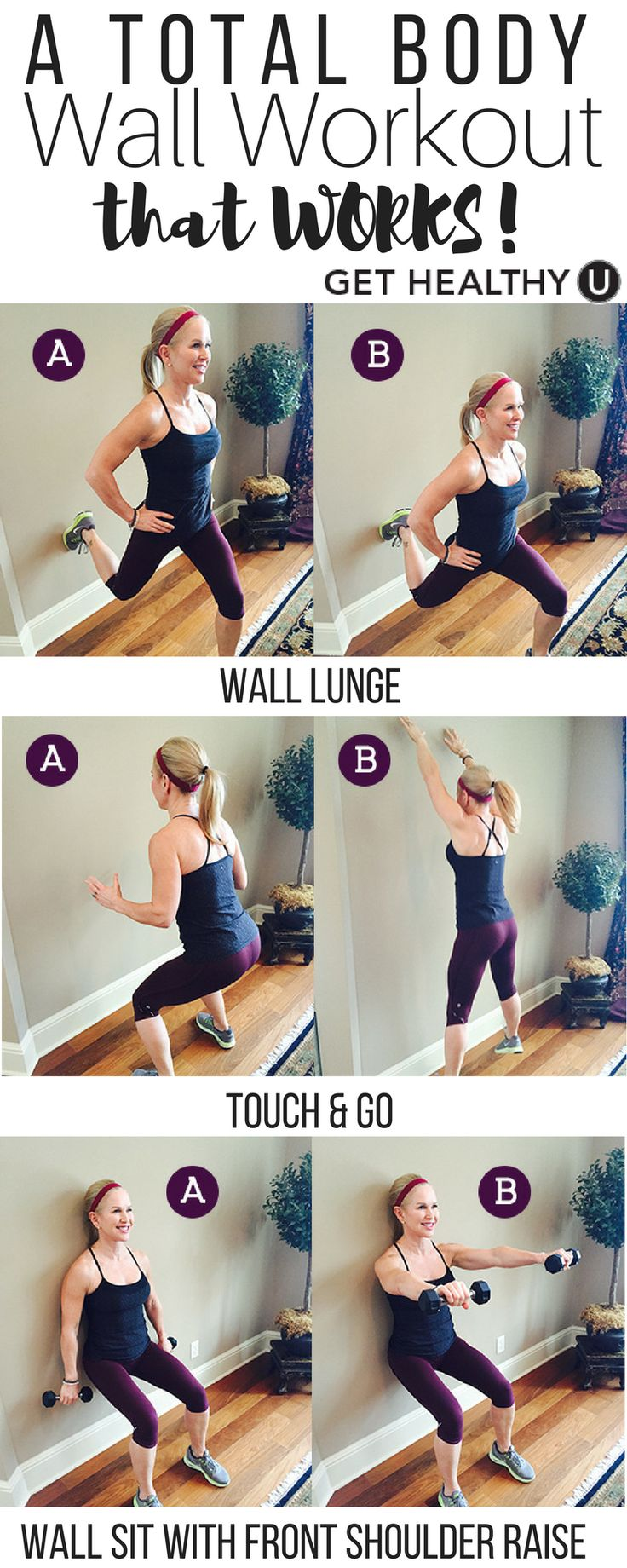 Check out our simple, 3-move workout that will tighten and tone your entire body! No workout equipment? No problem! All you need is a wall!