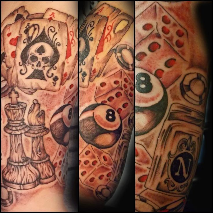 Gambling Tattoo Sleeve Ideas Gambling theme tattoo sleeve