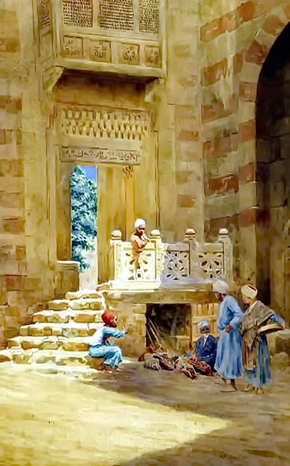 Children by the entrance to the mosque, Cairo  by Frederick F. Ogilvie (British,1907-1920) watercolour heightened with white , 33 x 21.5 cm