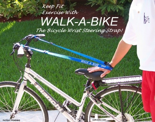 The 5 Days of #Fitness #Giveaway - Day 2 - Walk A Bike.  Enter each day for more chances to Win.  Ends 1/01/13    Time to get your fitness on with this easy to use strap.    Walk your max without the worry of not being able to make it back due to, foot pain,leg cramps, or just plain fatigue. When you reach your maximum walking/jogging distance, just bicycle back. Adding bicycling to your fitness walking program provides a more diverse exercising routine.