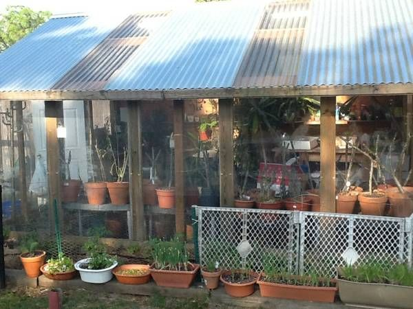 Greenhouse with swamp cooler for the hot Arizona summers and a roof like this to offer shade in the summer.