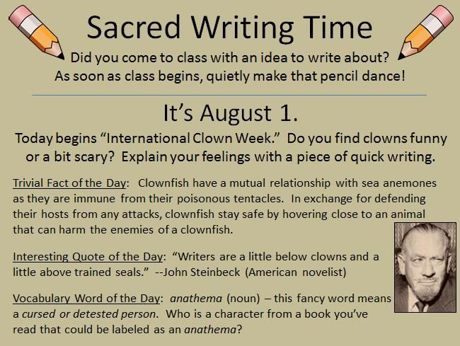 """In praise of Sacred Writing Time: I have asked my website's users to share why they think giving the students ten minutes of daily  """"Sacred Writing Time"""" works.  Check out their answers underneath my blog post: http://writinglesson.ning.com/profiles/blogs/may-11-eat-what-you-want-day Learn more about sacred writing time here: https://www.teacherspayteachers.com/Product/366-Sacred-Writing-Time-Slides-For-Writers-Notebooks-Journals-2242962"""