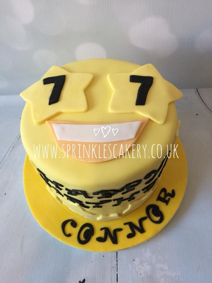 This cake has pretty simple decoration. Get a nice covering of yellow fondant and then just add the stars, mouth and lettering. The customer requested a 7 on each star but the birthday boy was not 77! This cake would equally suit an emoji loving birthday girl!
