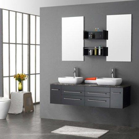contemporary grey bathroom ideas with double sinks and cabinets