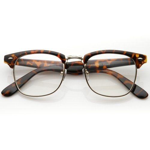 FRAMEWORK - Vintage Inspired Classic Clubmaster Nerd Wayfarers UV400 Clear Lens Glasses
