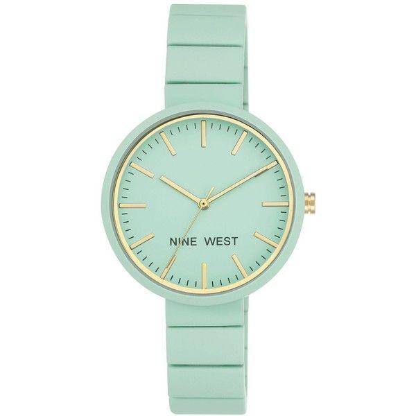 Nine West Women's Mint Rubberized Link Bracelet Watch 36mm (1.155 CZK) ❤ liked on Polyvore featuring jewelry, watches, mint, mint jewelry, rubber jewelry, rubber watches, rubber bracelet watch and gold-face watches