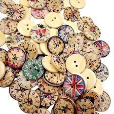 50 Vintage Mezclado Botones Madera Redondo 2 agujeros de costura scrapbooking hágalo usted mismo