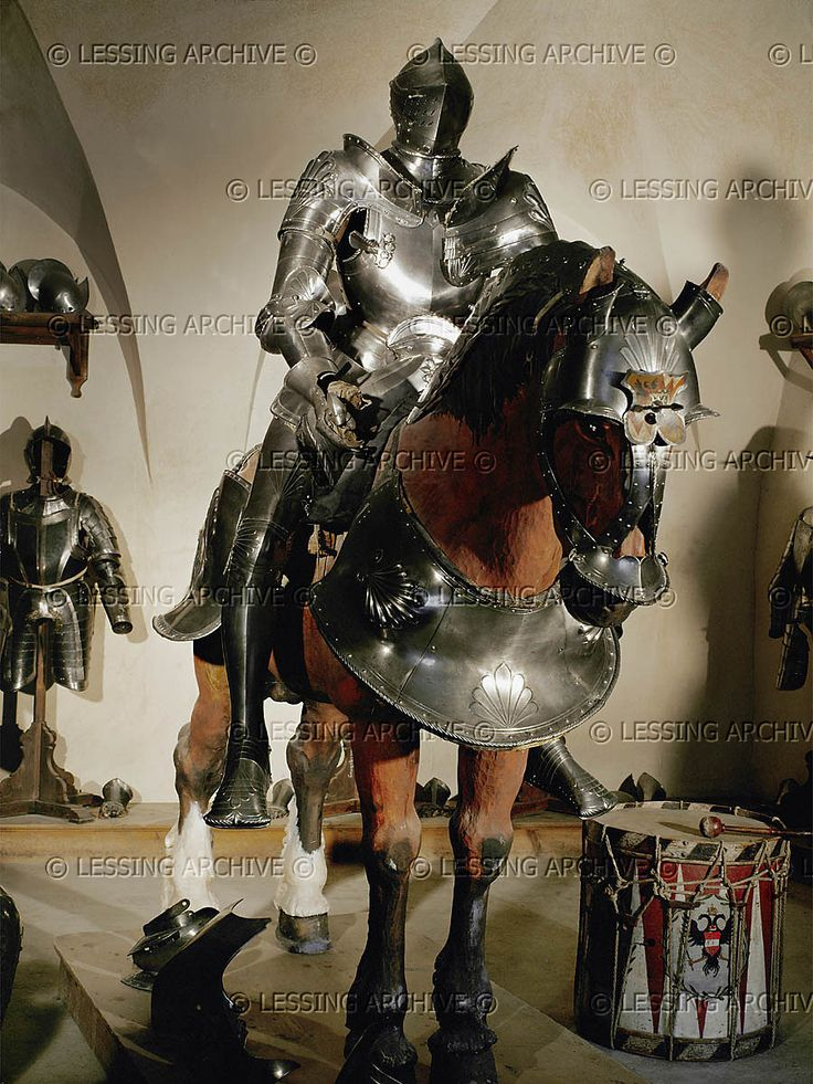 ... Seusenhofer,Joerg,armourer (1528-1580)    Riding armour and horse's armour for Jacob VI, Trapp. Around 1500. Steel, embossed.    Churburg, , Italy