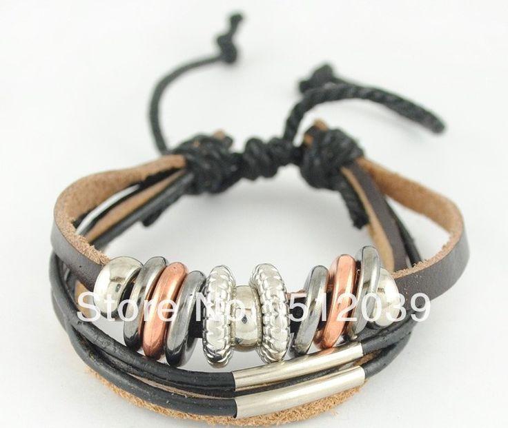 Национальный ветер браслет личности моды PU кожаный шнур браслет многослойные металлический браслет из бисера CLOVER1250G/B1250