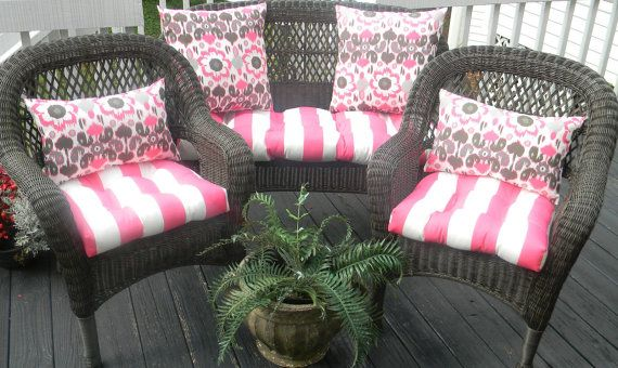 Indoor / Outdoor Wicker Cushion And Pillow 7 Pc Set   Preppy Hot Pink U0026  White Stripe W/ Matching Ikat Floral Pillows By PillowsCushionsOhMy, ...