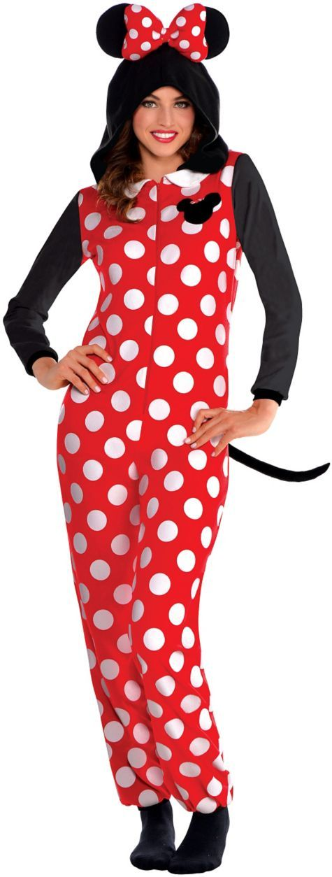Adult Minnie Mouse One-Piece Pajamas - Party City