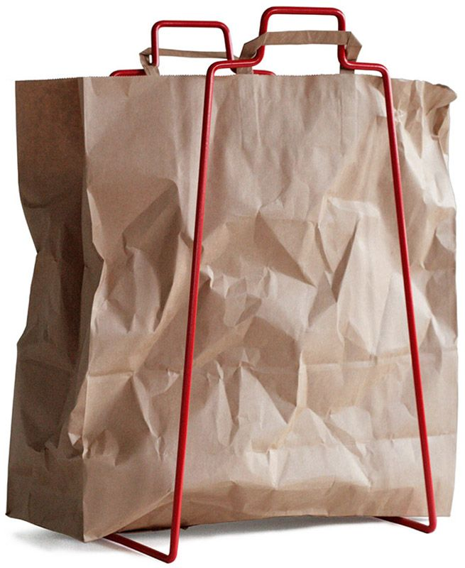 Helsinki paper bag holder in red. Design by Helena Mattila. Made in Finland.