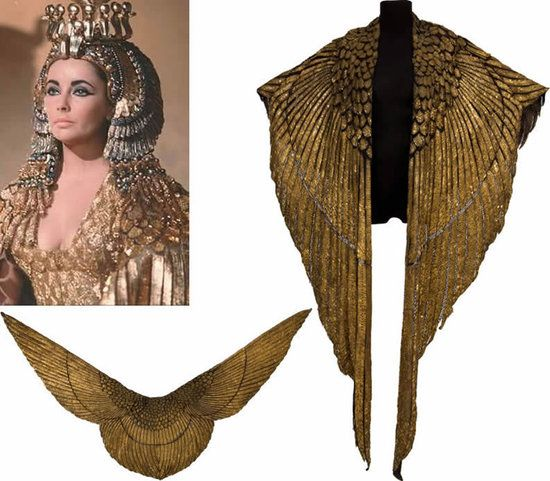 Dame Elizabeth Taylor as Cleopatra (1963). That infamous gold cape fetched 59K at Heritage Auctions. Wings of a Phoenixand was crafted using thin panels of gold-painted leather set with hand-stitched gold beads and sequins.